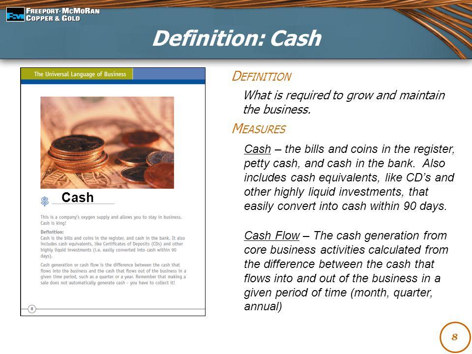 Definition: Cash Definition Measures Cash
