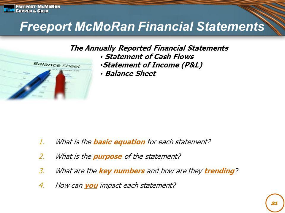 Freeport McMoRan Financial Statements