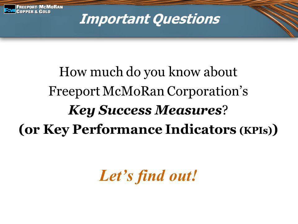 (or Key Performance Indicators (KPIs))