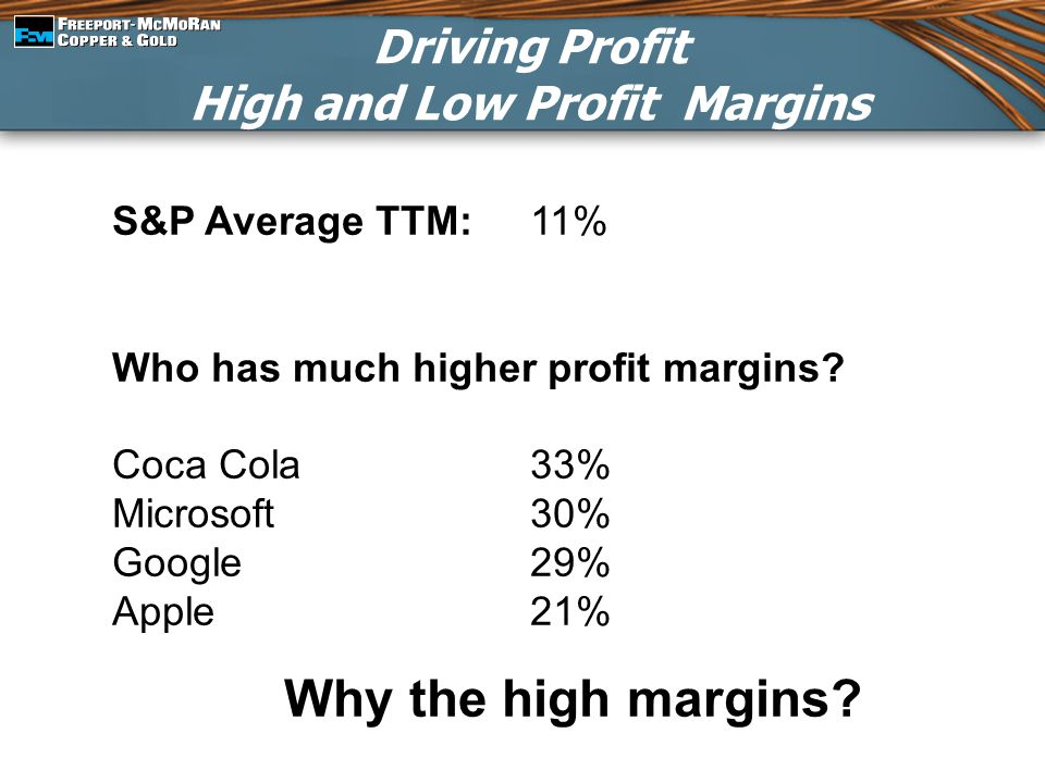 Driving Profit High and Low Profit Margins