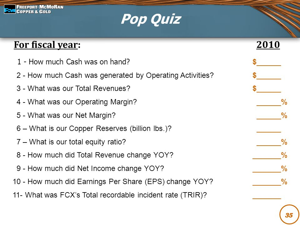 Pop Quiz For fiscal year: 2010 1 - How much Cash was on hand $______