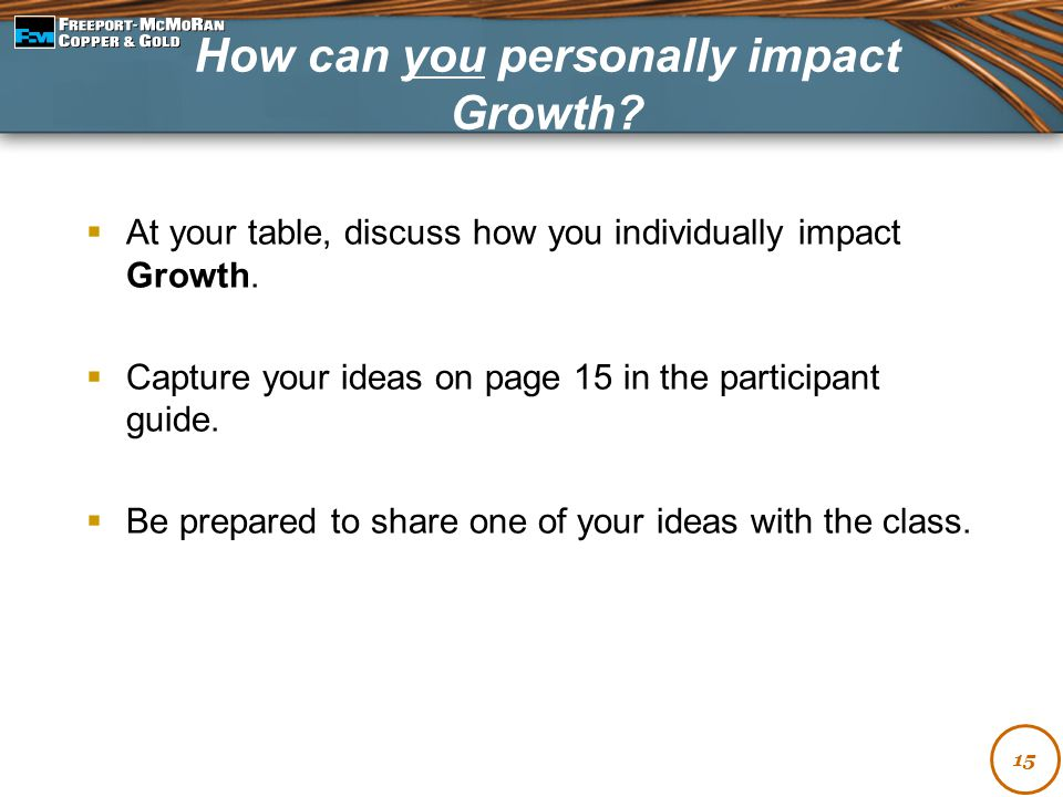 How can you personally impact Growth