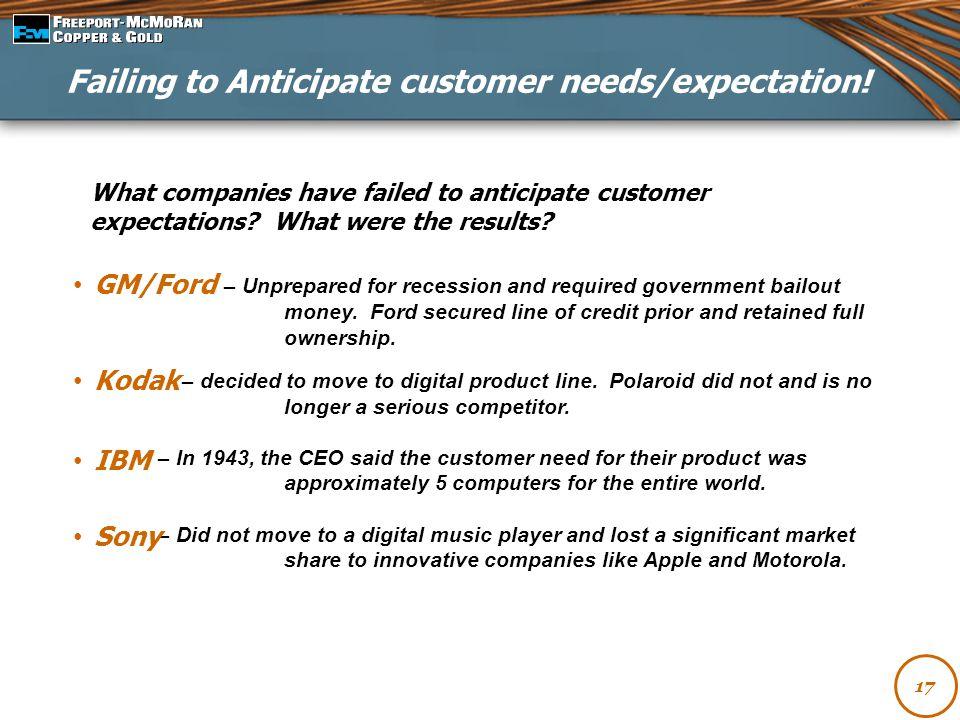 Failing to Anticipate customer needs/expectation!