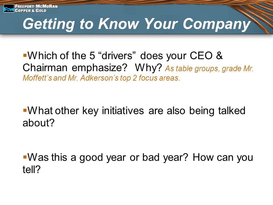 Getting to Know Your Company