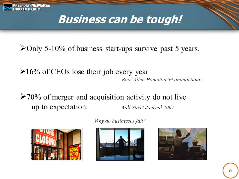 Business can be tough! Only 5-10% of business start-ups survive past 5 years. 16% of CEOs lose their job every year.