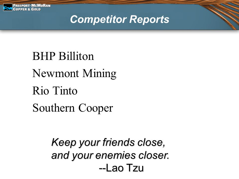 BHP Billiton Newmont Mining Rio Tinto Southern Cooper