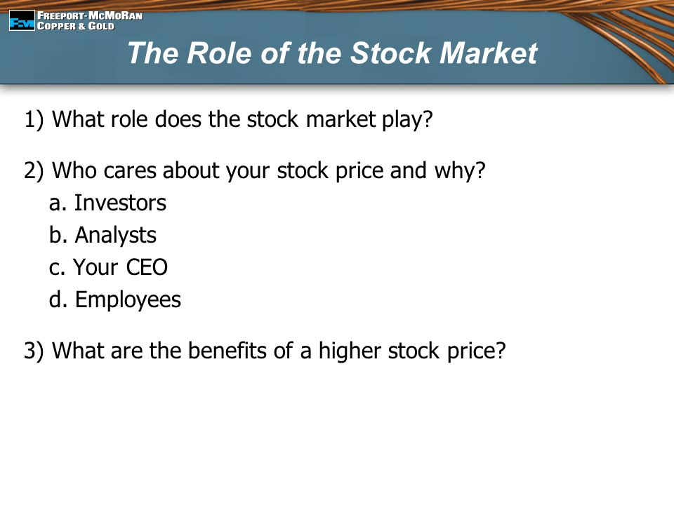 The Role of the Stock Market