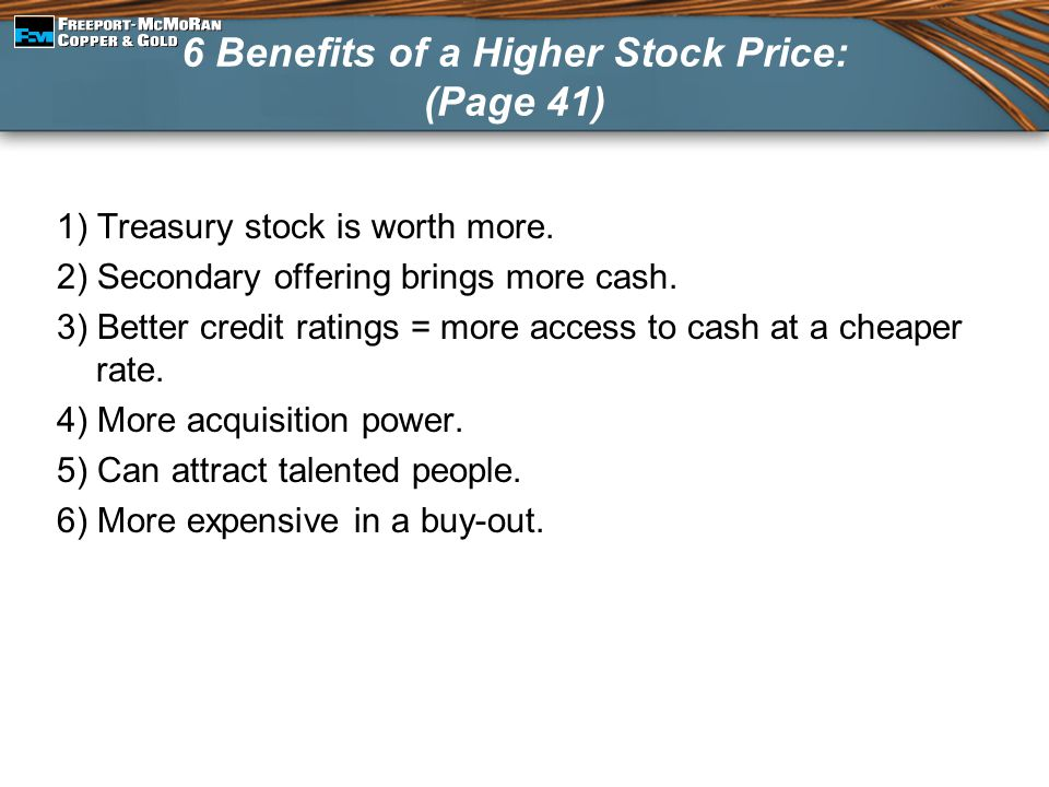 6 Benefits of a Higher Stock Price: (Page 41)