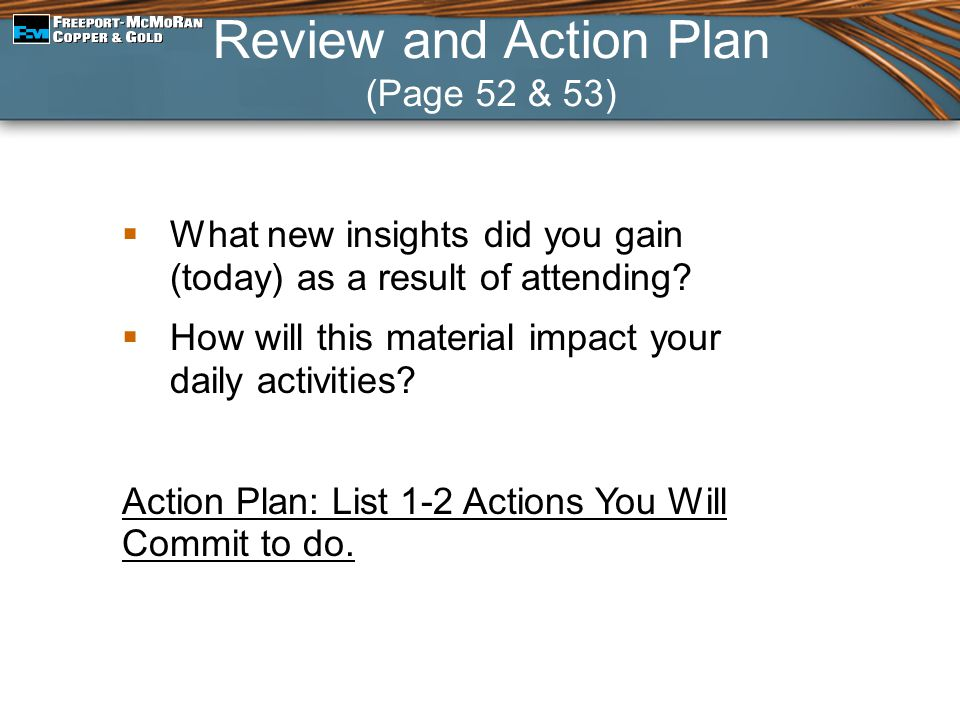 Review and Action Plan (Page 52 & 53)