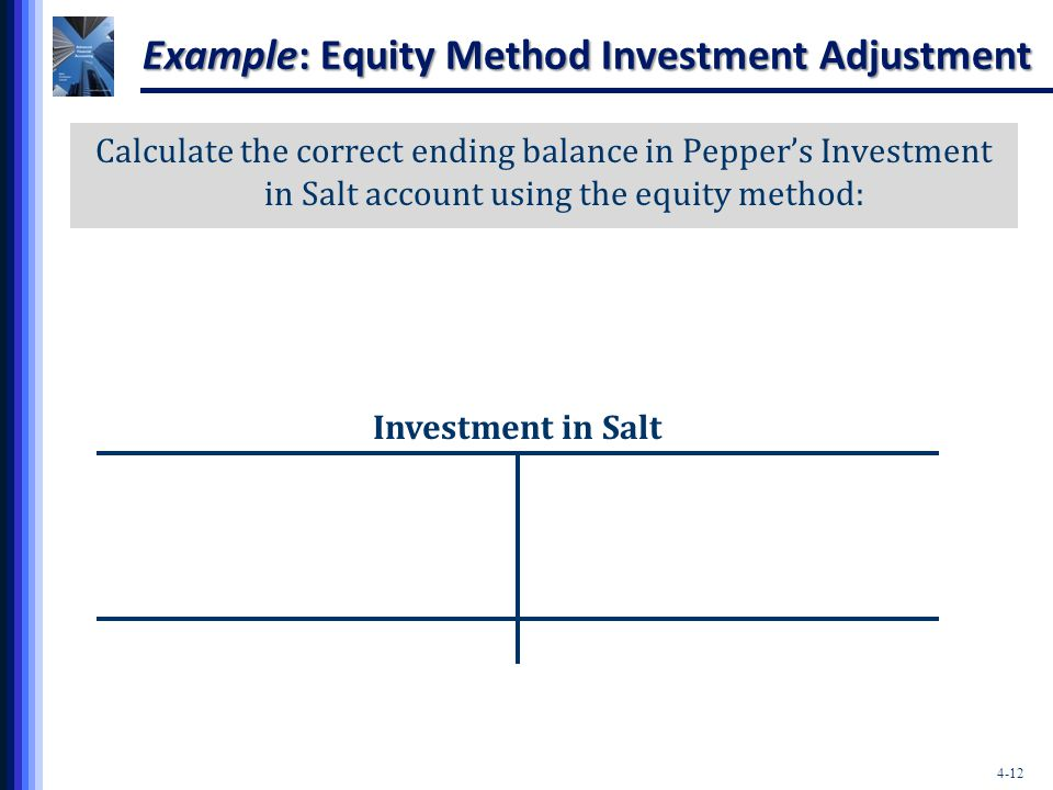 Example: Equity Method Investment Adjustment
