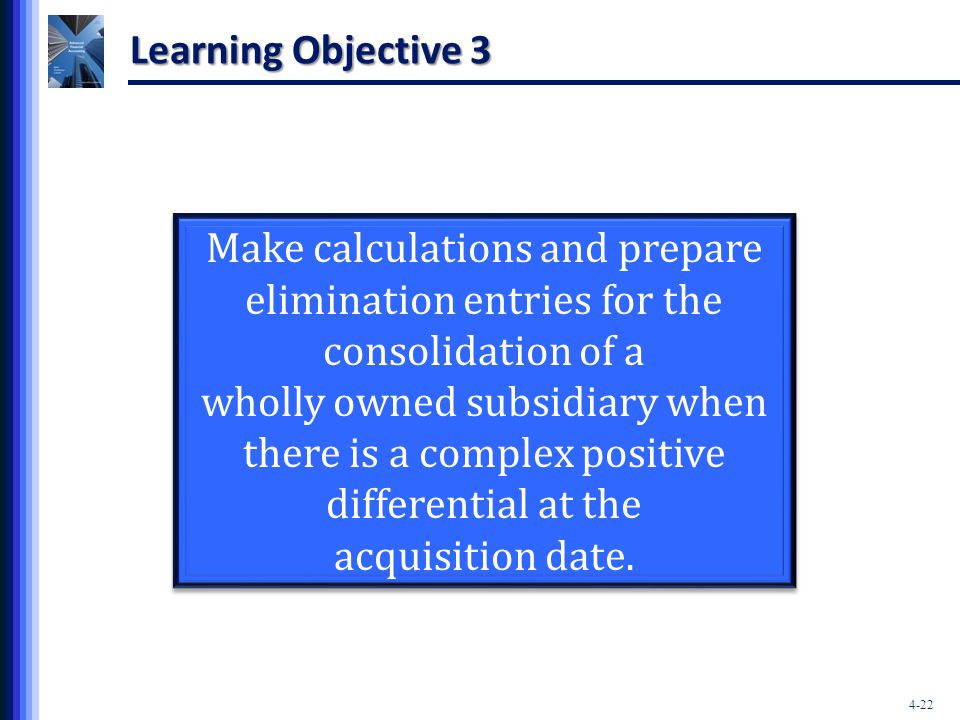 Learning Objective 3 Make calculations and prepare elimination entries for the consolidation of a.