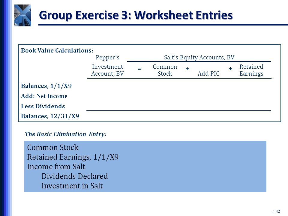 Group Exercise 3: Worksheet Entries