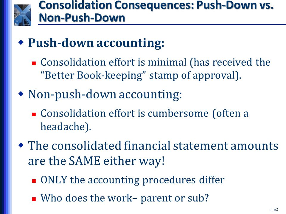 Consolidation Consequences: Push-Down vs. Non-Push-Down