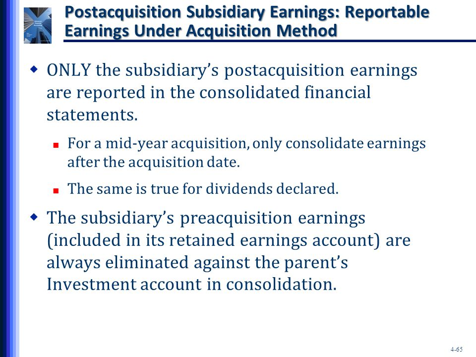 Postacquisition Subsidiary Earnings: Reportable Earnings Under Acquisition Method