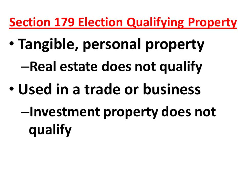 Section 179 Election Qualifying Property