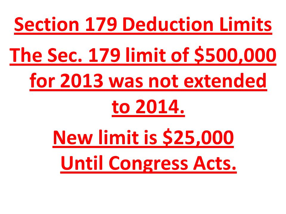 Section 179 Deduction Limits