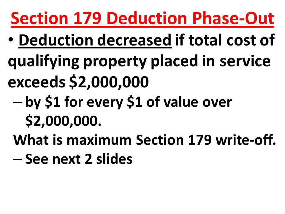 Section 179 Deduction Phase-Out