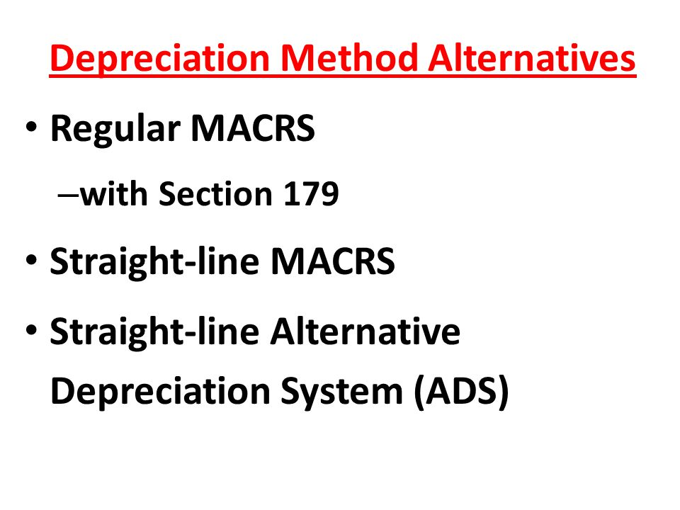 Depreciation Method Alternatives