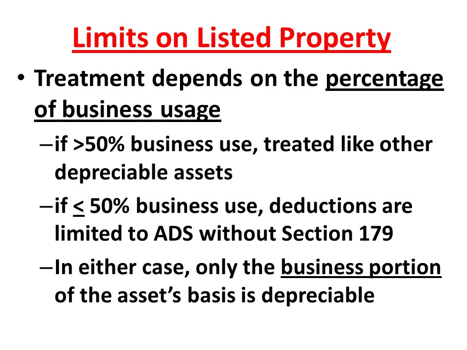 Limits on Listed Property