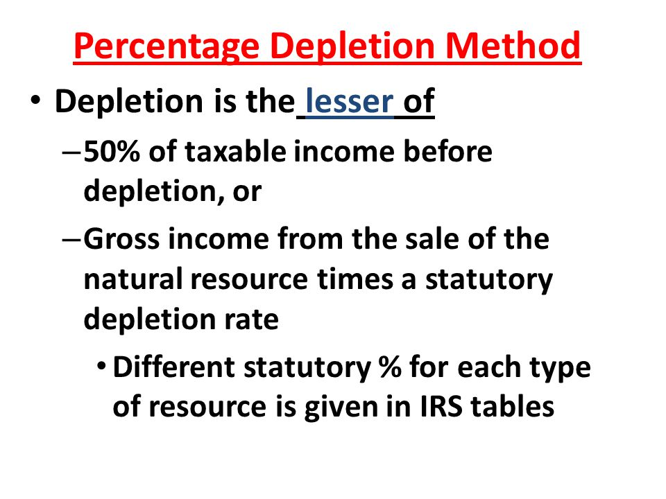 Percentage Depletion Method