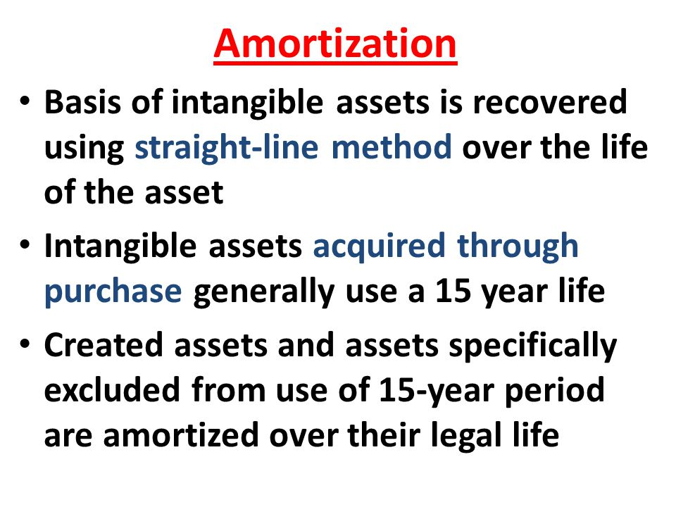 Amortization Basis of intangible assets is recovered using straight-line method over the life of the asset.
