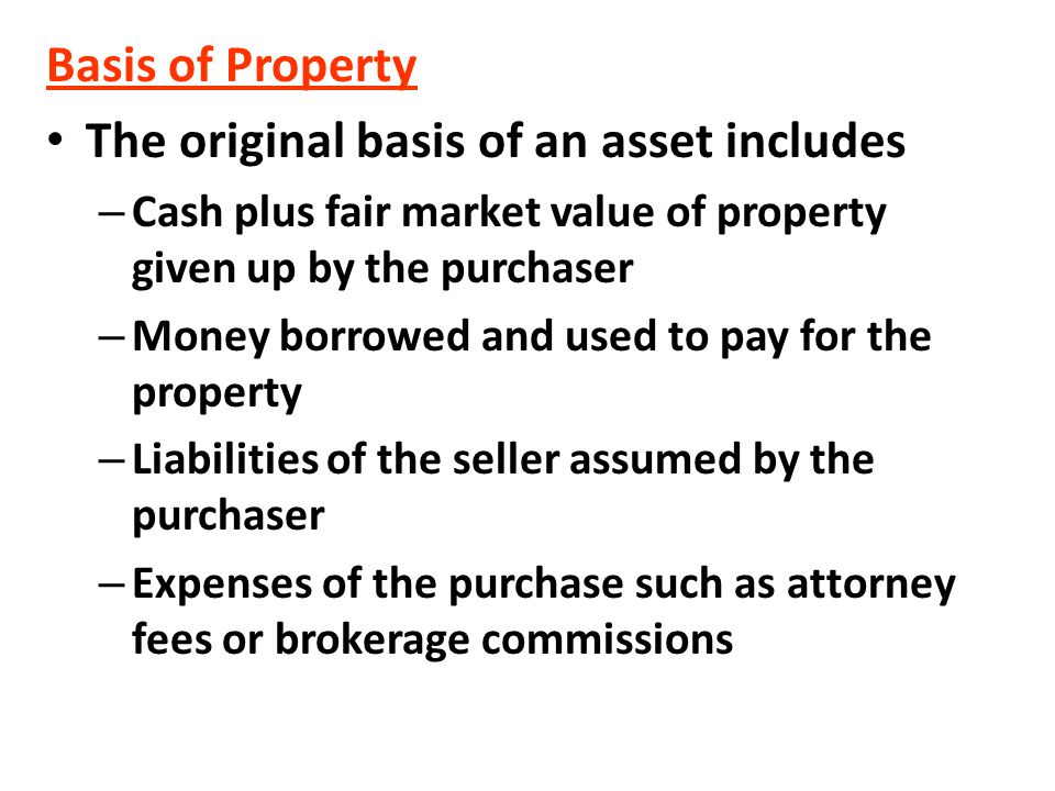 The original basis of an asset includes