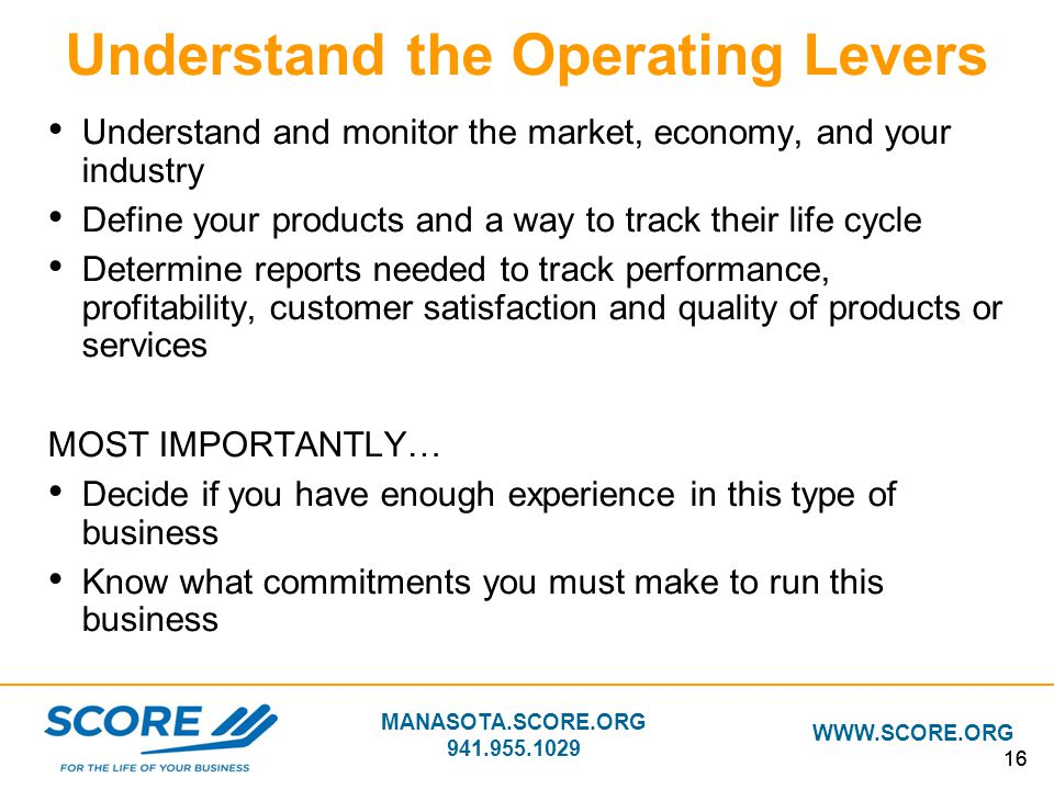 Understand the Operating Levers