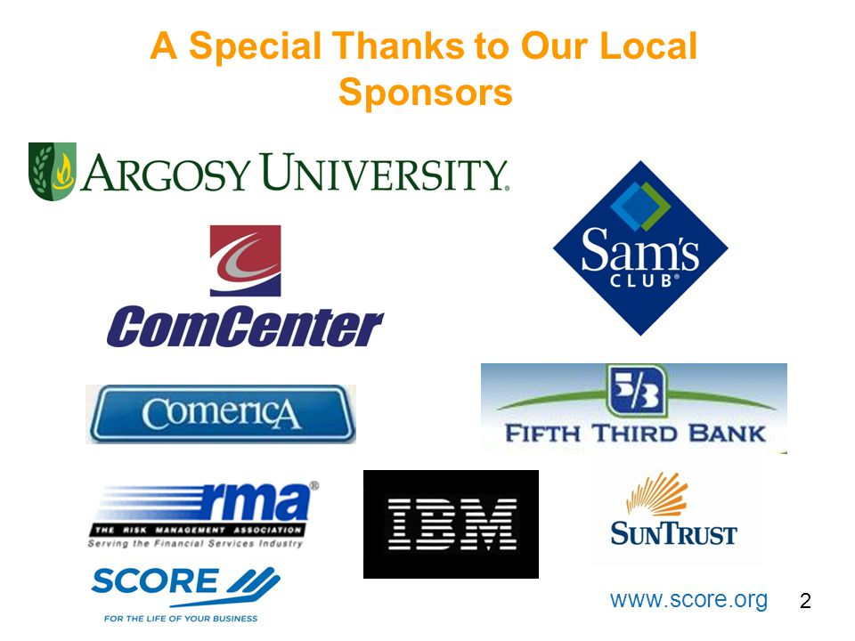 A Special Thanks to Our Local Sponsors