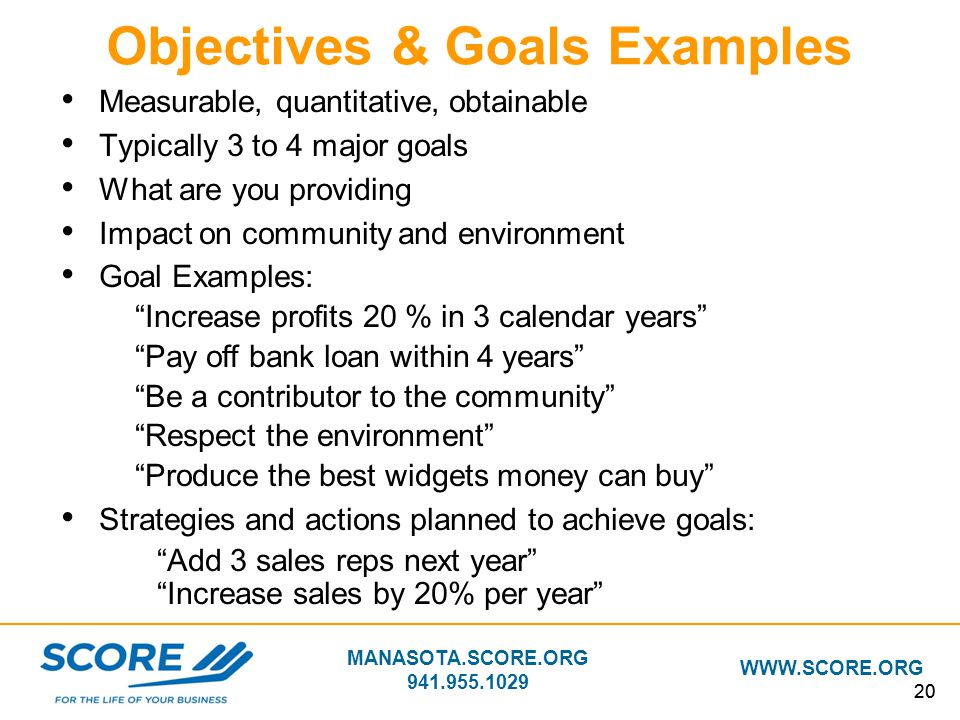 Objectives & Goals Examples