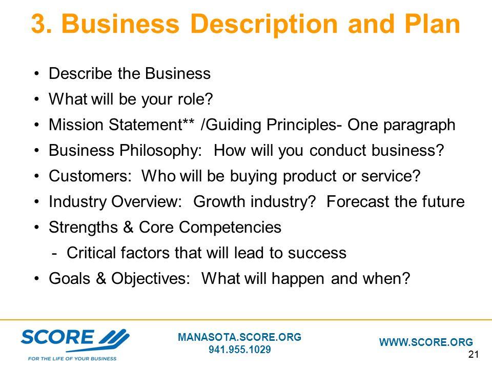 3. Business Description and Plan