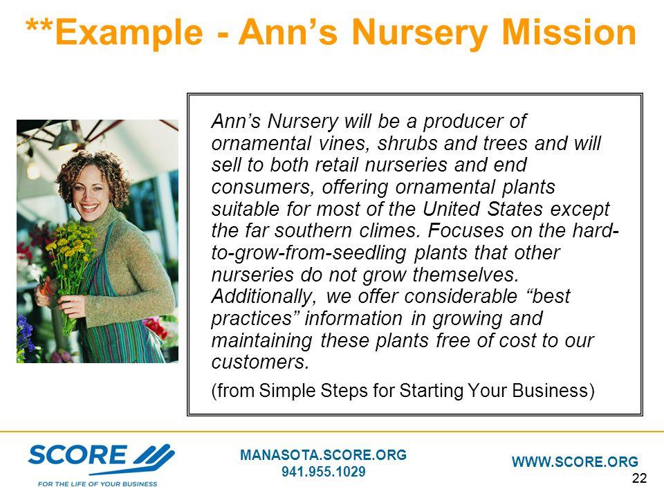 **Example - Ann's Nursery Mission