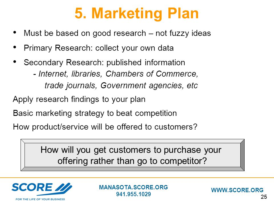 5. Marketing Plan How will you get customers to purchase your