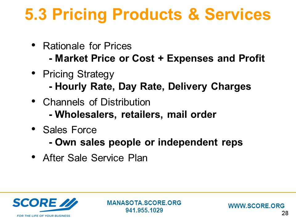 5.3 Pricing Products & Services