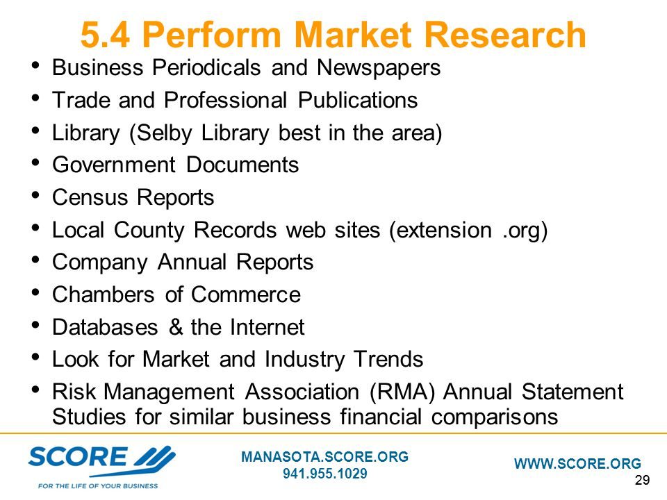 5.4 Perform Market Research