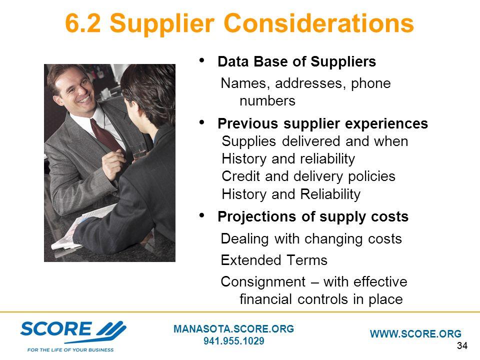 6.2 Supplier Considerations