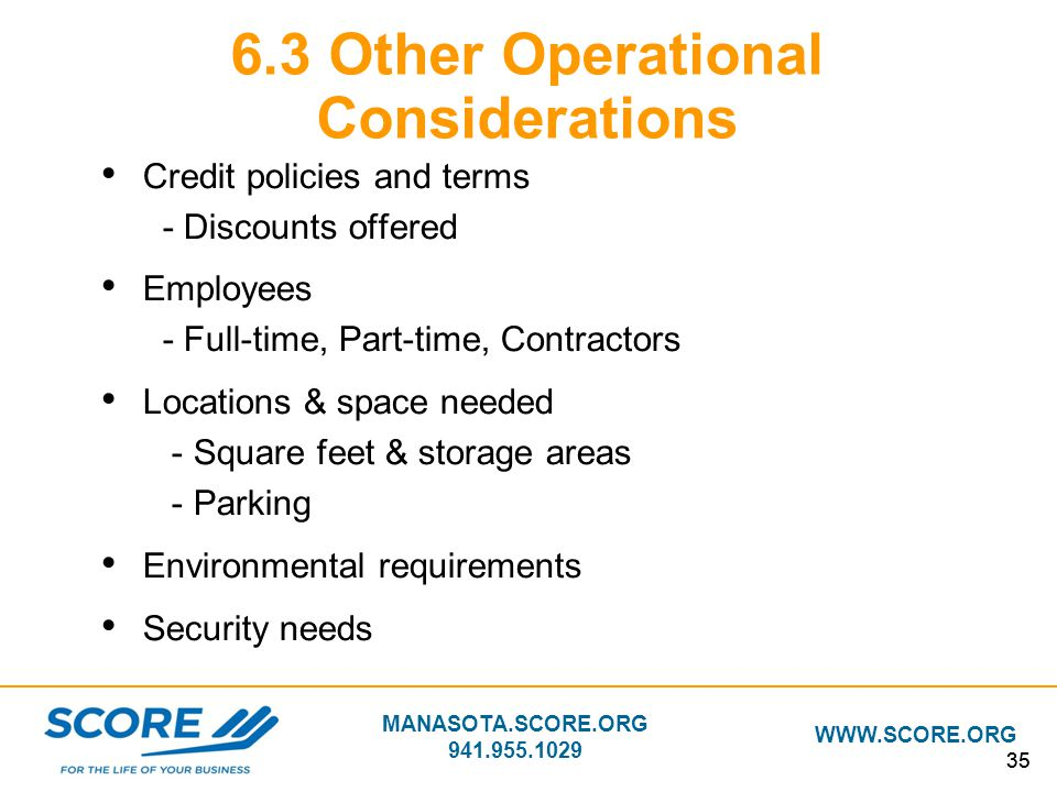 6.3 Other Operational Considerations
