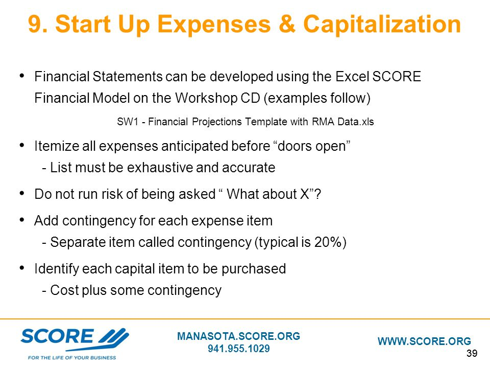 9. Start Up Expenses & Capitalization