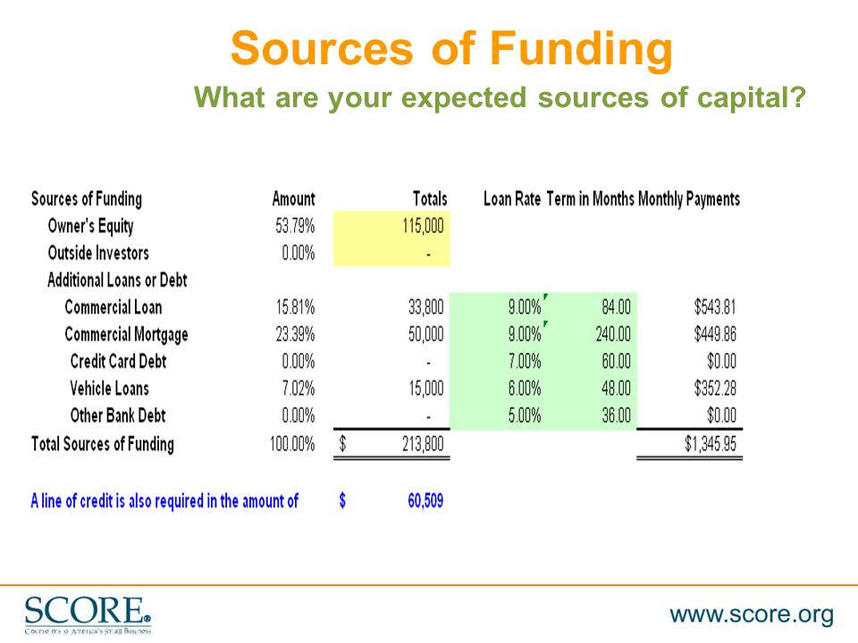 Sources of Funding What are your expected sources of capital