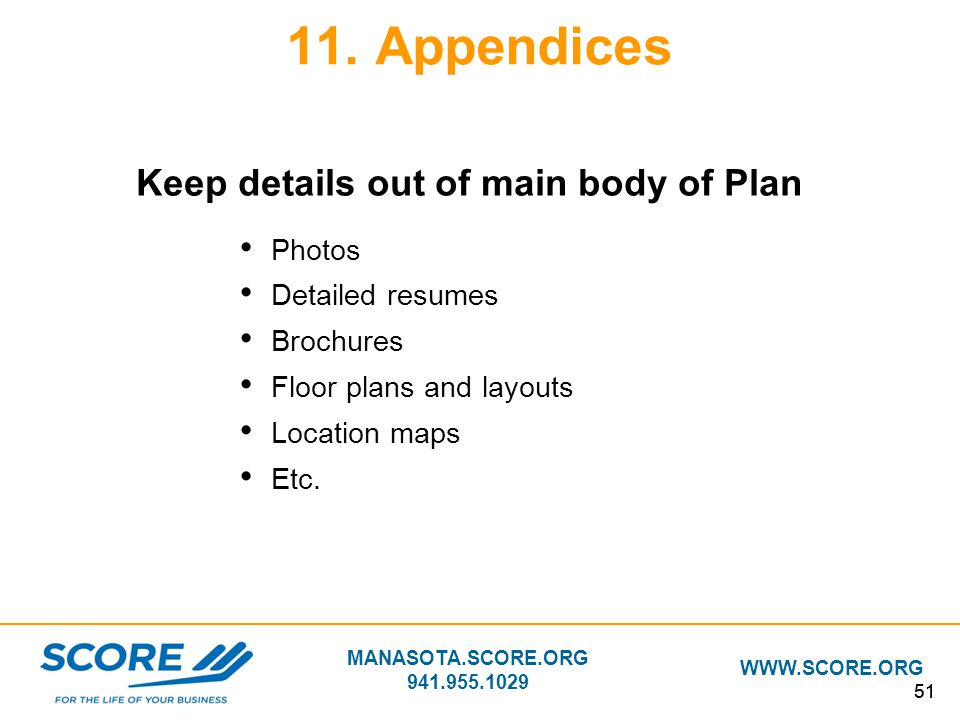 Keep details out of main body of Plan