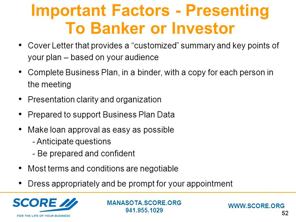 Important Factors - Presenting To Banker or Investor