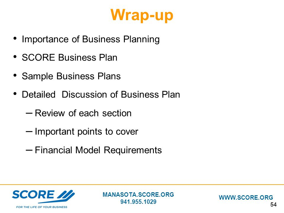 Wrap-up Importance of Business Planning SCORE Business Plan