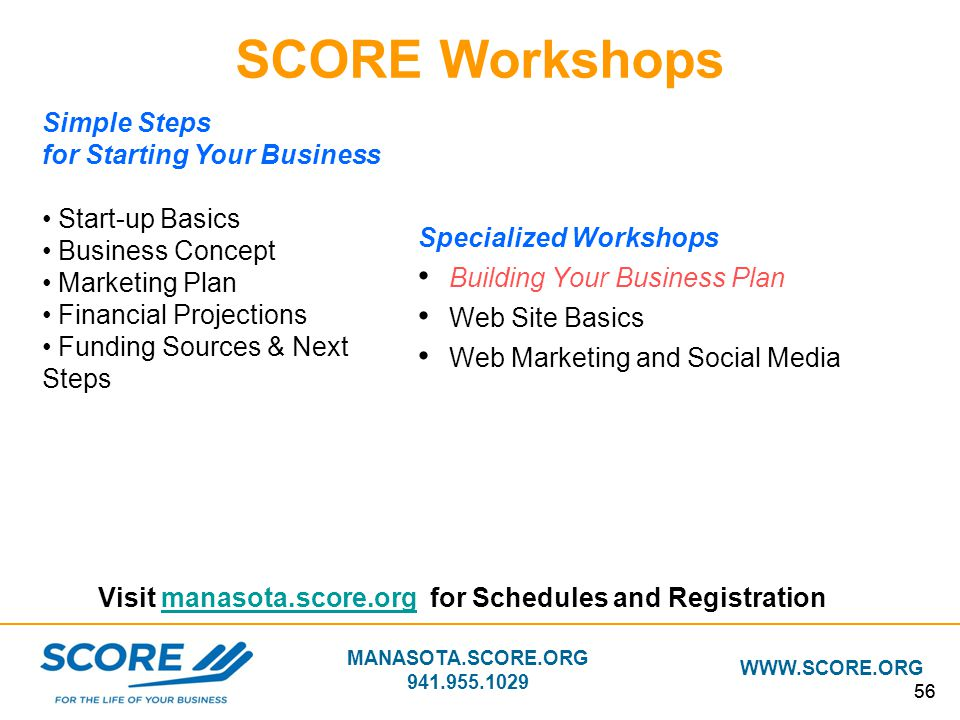 SCORE Workshops Simple Steps for Starting Your Business