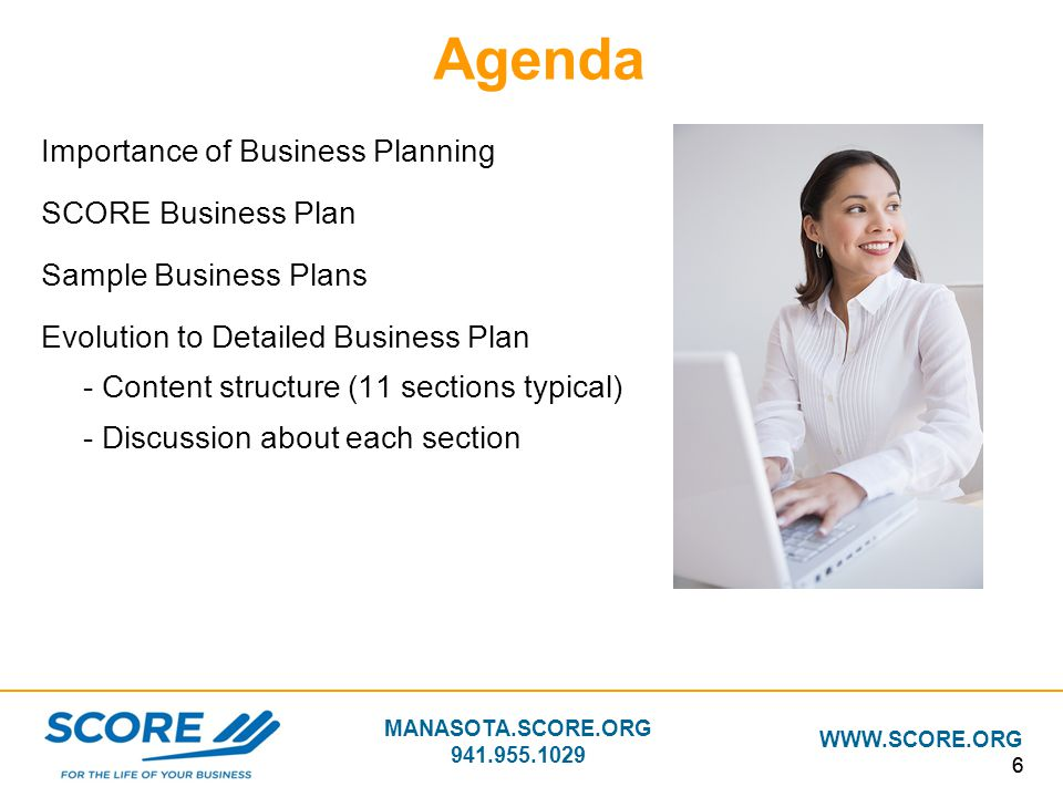 Agenda Importance of Business Planning SCORE Business Plan
