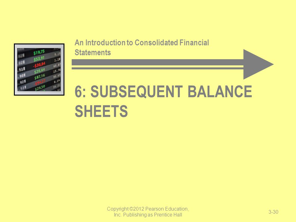 6: Subsequent Balance Sheets
