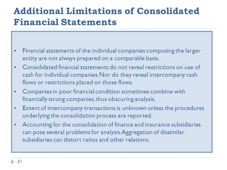 Additional Limitations of Consolidated Financial Statements