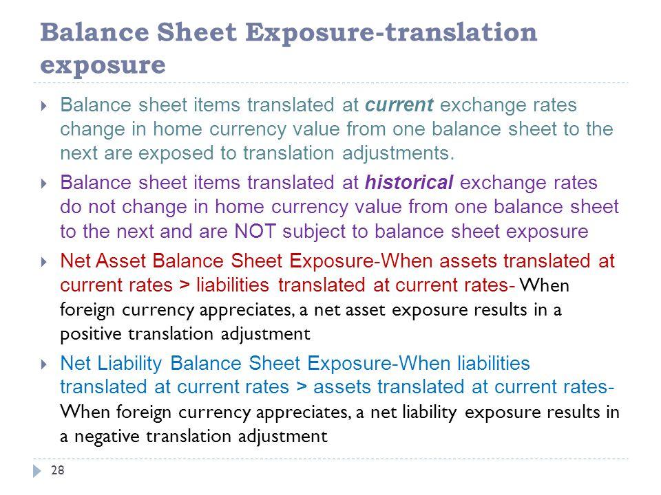 Balance Sheet Exposure-translation exposure