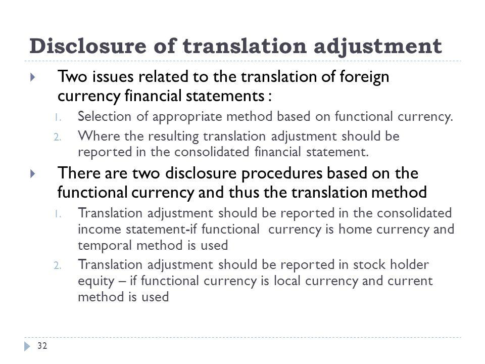 Disclosure of translation adjustment