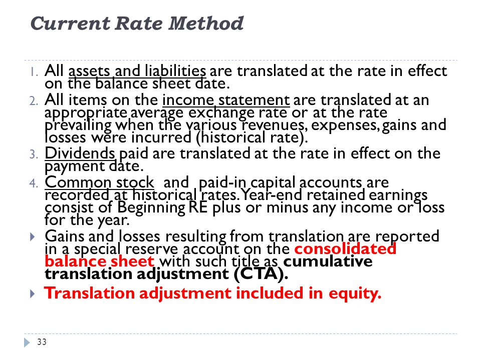 Current Rate Method All assets and liabilities are translated at the rate in effect on the balance sheet date.