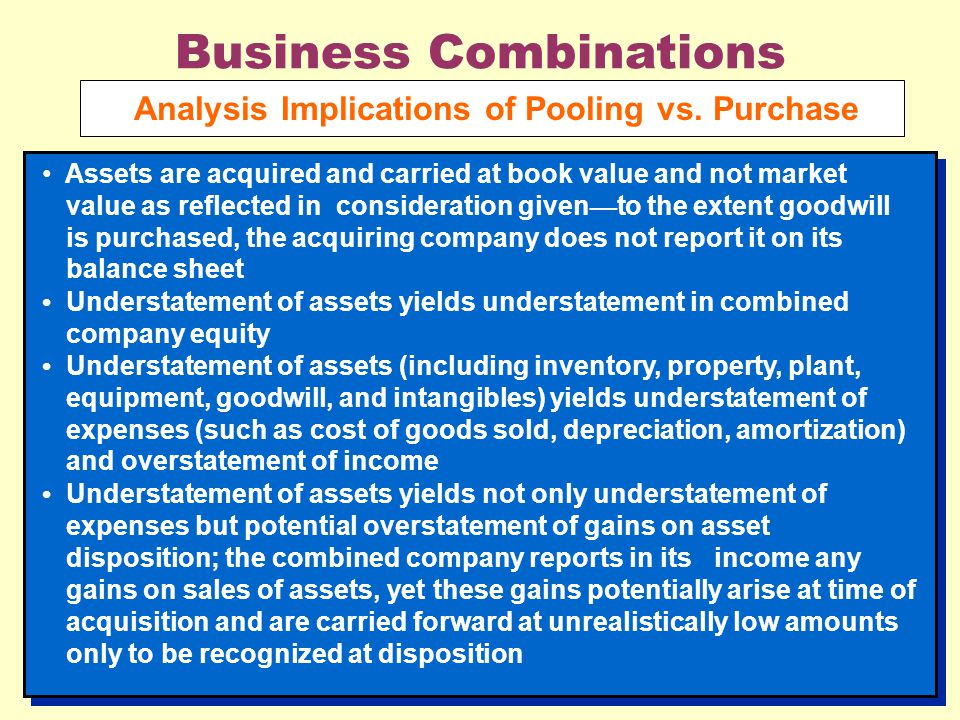 Business Combinations Analysis Implications of Pooling vs. Purchase