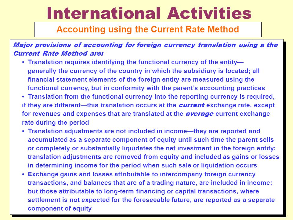 International Activities Accounting using the Current Rate Method